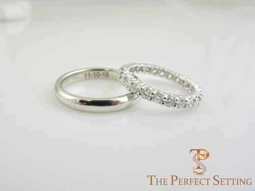 His and Hers Platinum Wedding Bands Engraved