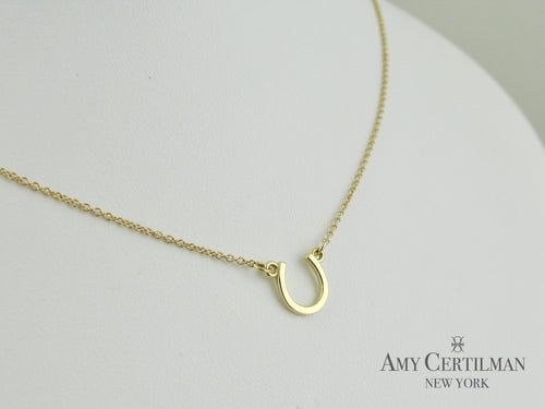 Gold Horseshoe Necklace Adjustable Chain