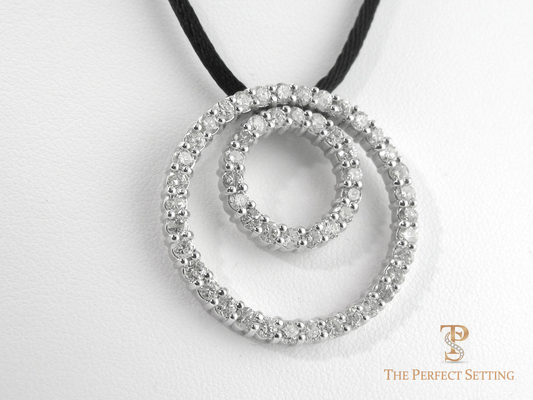 Double Eternity diamond Necklace  on leather cord
