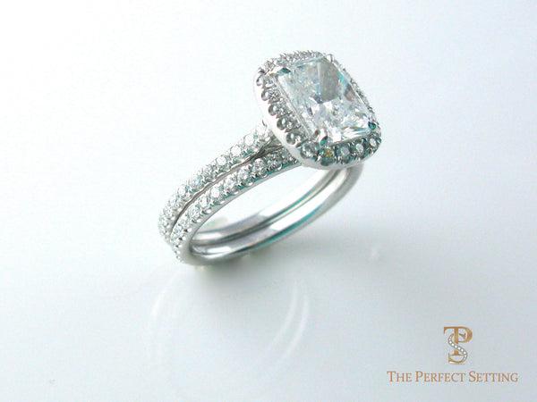 Radiant Cut Diamond Halo Ring with wedding band