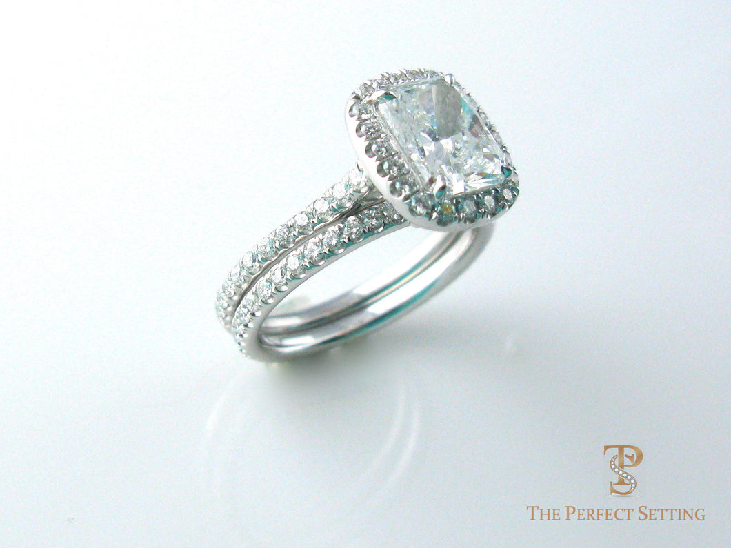 Princess Diamond Halo Ring with wedding band