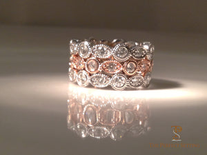 Diamond Oval and Round Stack Rings