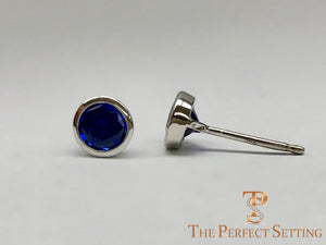 Lab Created Sapphire Stud Earrings Bezel Set in 14K White Gold