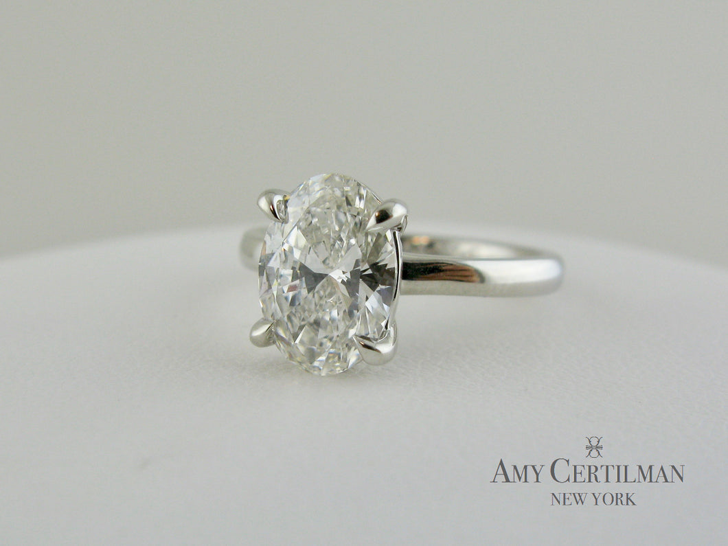 Lab Created Cultured Oval Diamond Engagement Ring front