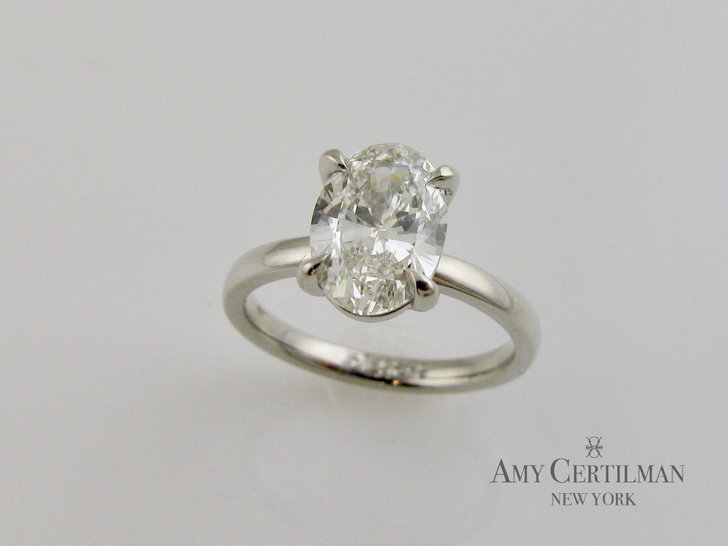 Lab Created Cultured Oval Diamond Engagement Ring finger
