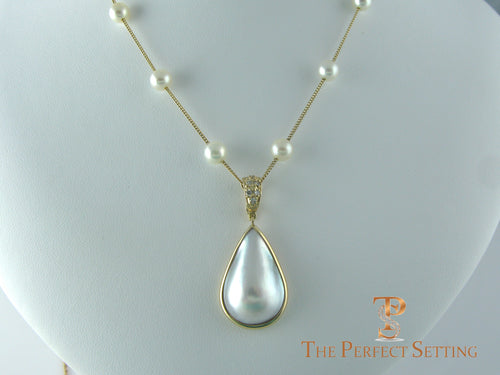 Pearl Tin Cup Necklace with Mabe Pearl Enhancer