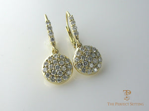 Micro Pave Diamond Disc Earrings.