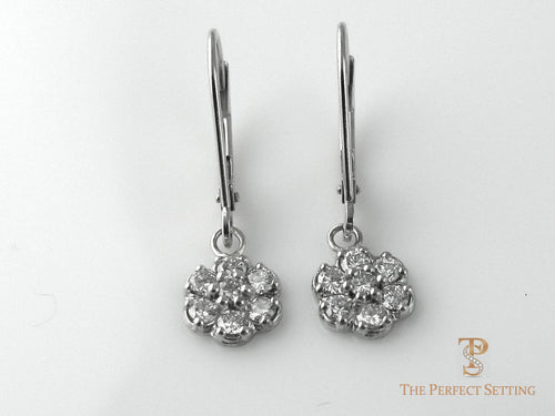 Micro Pave Diamond Flower Cluster Wire Earring