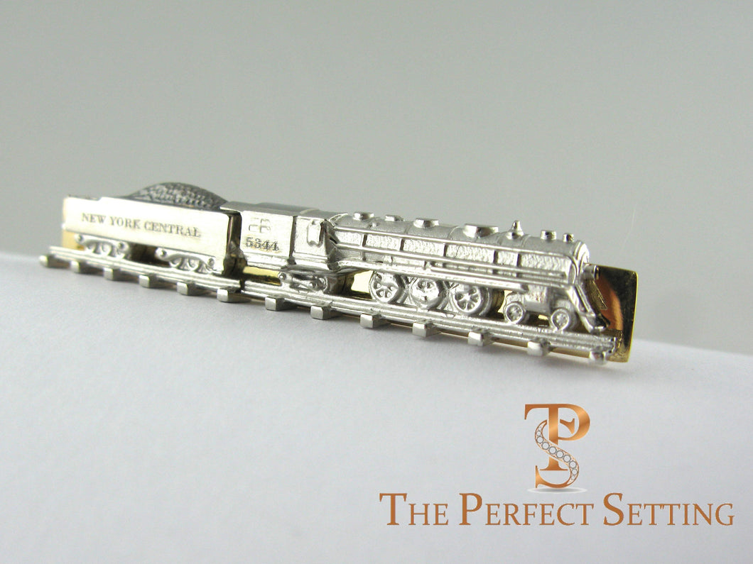 NY Central Train #5344 tie clip platinum and gold