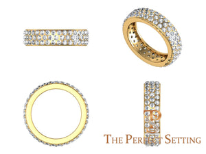 Pave Diamond 3 Row Ring 18K yellow gold 2.70 ctw