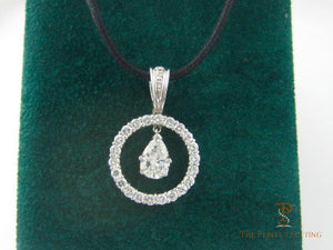 Pear Diamond Circle Pendant Enhancer on leather cord