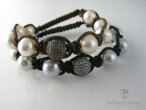 Freshwater Pearl Macarame Stacking Bracelets