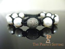 Load image into Gallery viewer, custom pearl pave diamond macrame bracelet