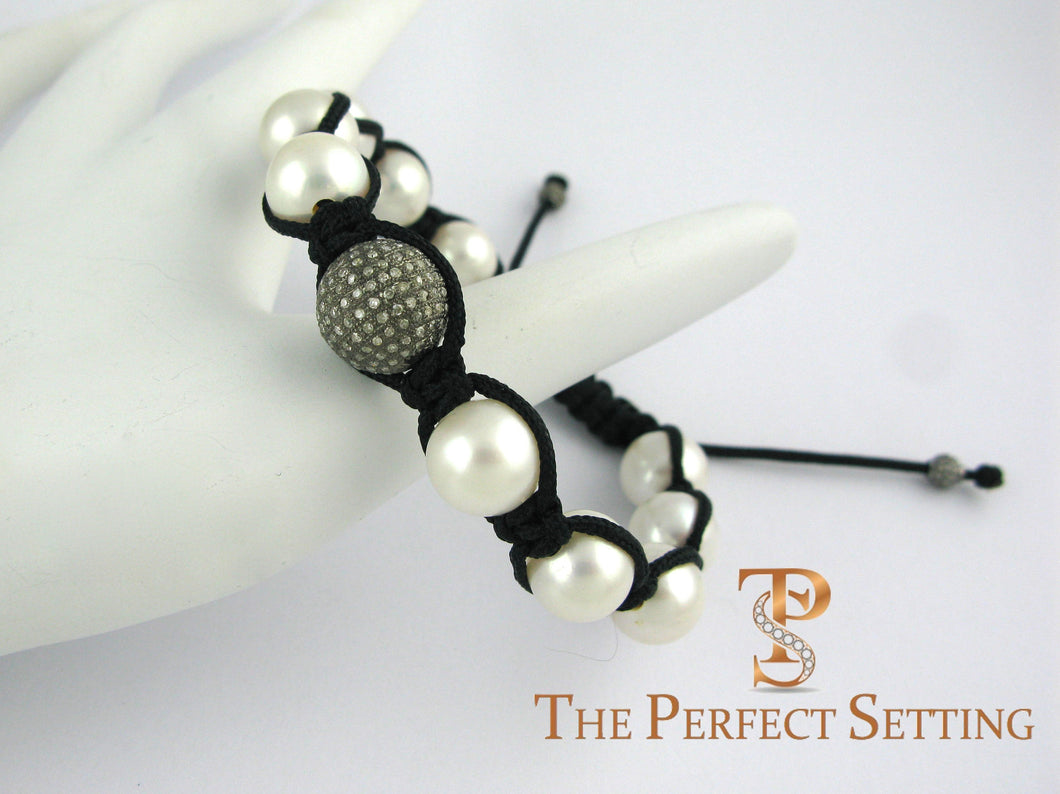 pearl pave diamond macrame bracelet on hand