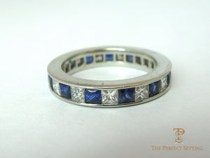 Princess Cut Diamond and Sapphire Eternity Ring