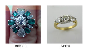Before and After 1950's cocktail ring becomes three stone engagement ring