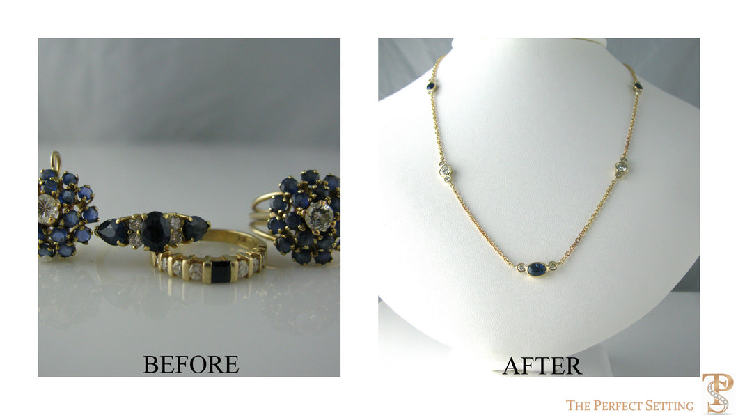 Resetting- Sapphire Diamond Rings to Necklace