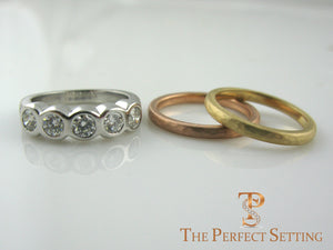 custom hammered wedding bands diamond ring