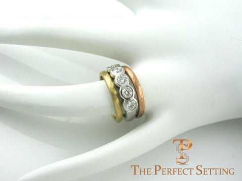 rustic tri gold diamond ring