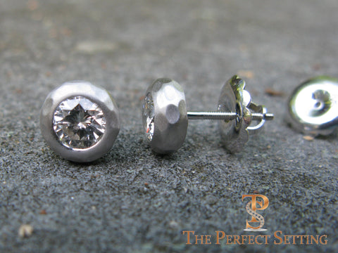 rustic hammered diamond studs