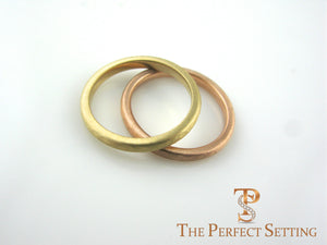 custom hammered wedding bands rose and yellow gold