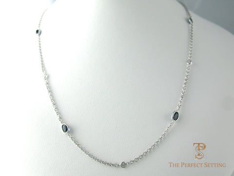 Sapphire and Diamond Bezel Set Necklace