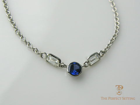 Round Sapphire and Diamond Baguette Necklace
