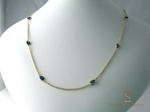Bezel Set Sapphire Necklace w/Yellow Gold chain