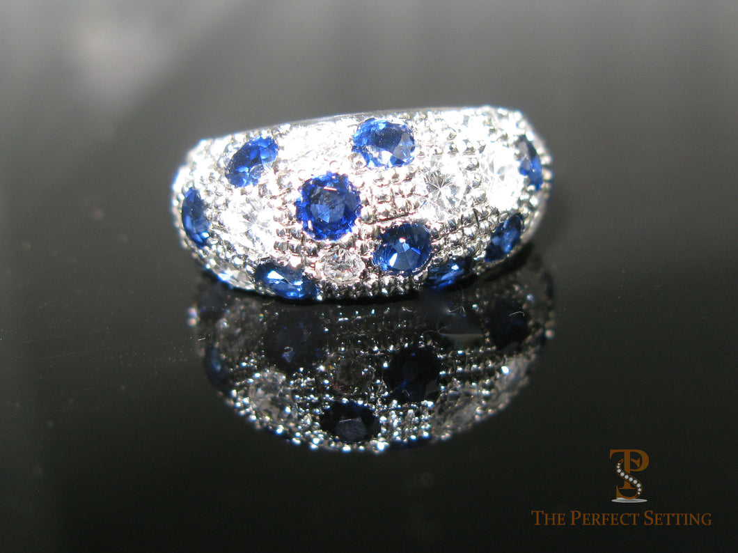 Custom Sapphire and Diamond Dome Ring