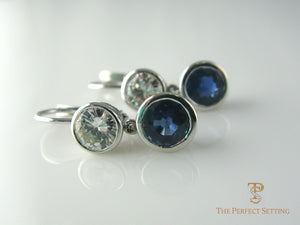 Sapphire Diamond Earrings Hinged wire