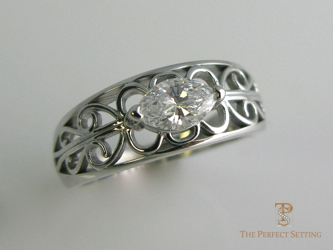 Marquise Diamond Scroll Ring