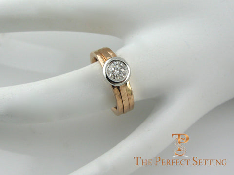 Rose gold diamond platinum bezel ring custom side on hand