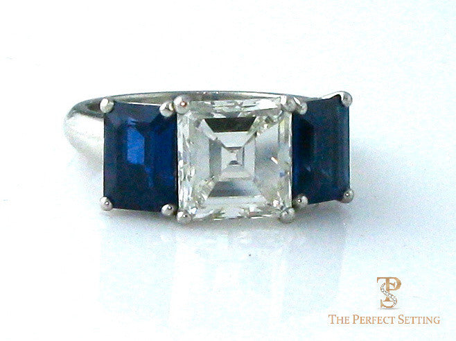Square Diamond and Sapphire Engagement Ring