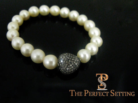 pearls on stretchy bracelet diamond charm