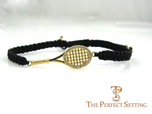 tennis racquet bracelet gold diamonds macrame