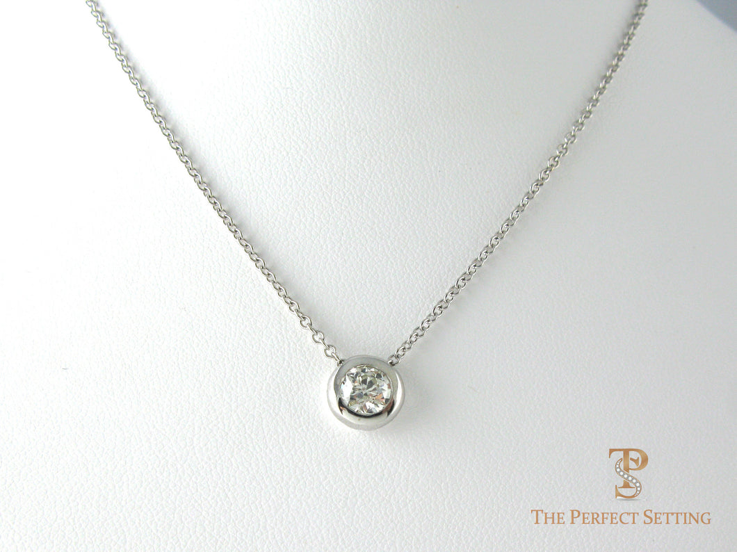 extra heavy 14K white gold bezel diamond necklace