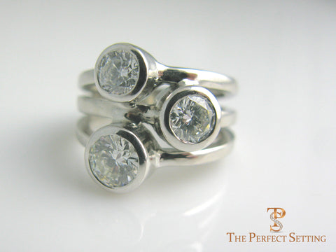 three stone bezel ring diamonds