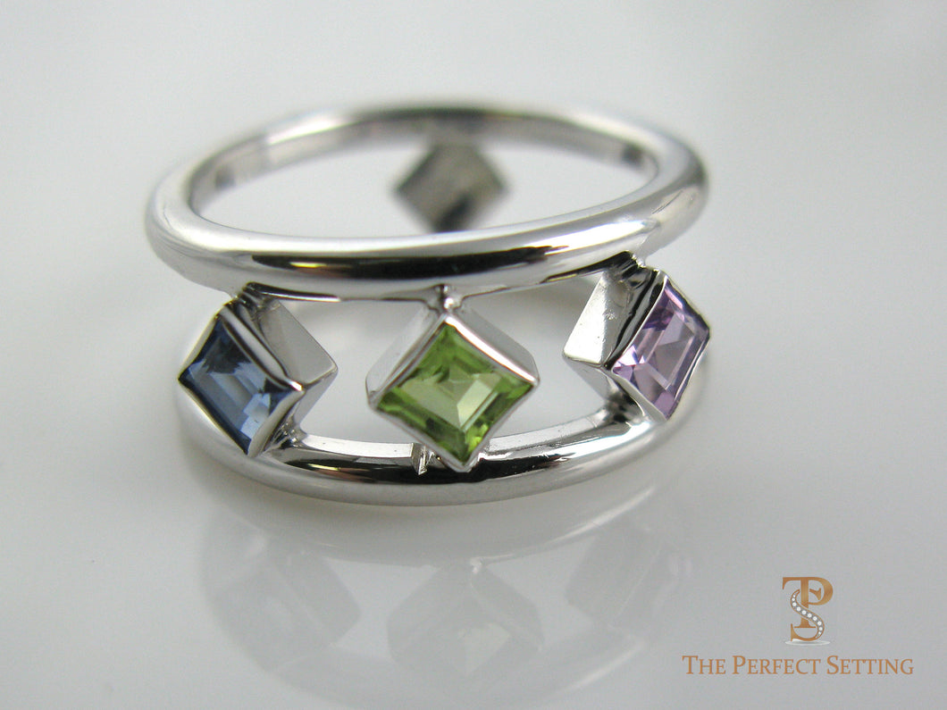 Three Stone Birthstone Ring