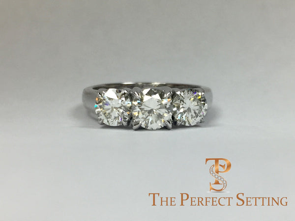 Custom Three Stone Diamond Trellis Engagement Ring The