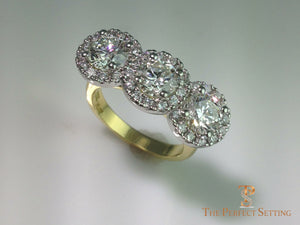 three stone diamond halo ring up