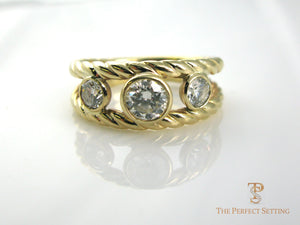 Three Stone Diamond Gold Ring