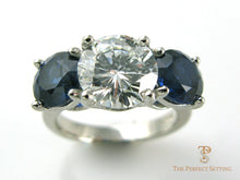Load image into Gallery viewer, Three Stone Diamond Sapphire Ring