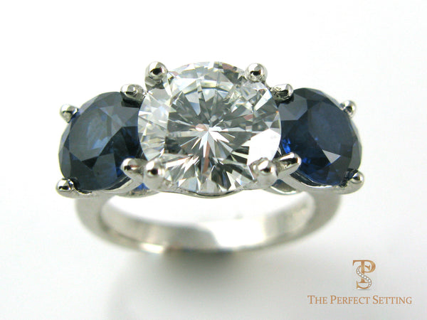 Three Stone Diamond Sapphire Ring – The Perfect Setting