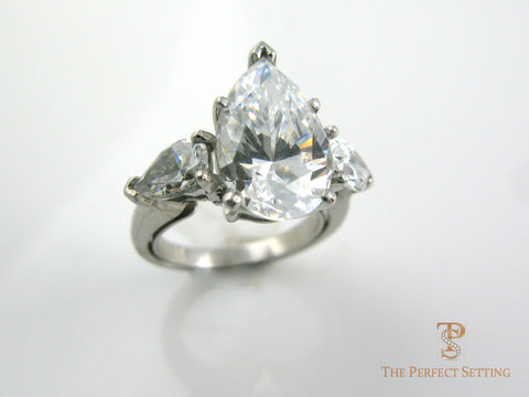 Three Stone Pear Diamond Engagement Ring