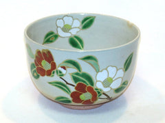 Japanese Mat Cha Tea Bowl - Tea Flowers