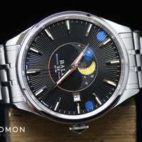 Trainmaster Moon Phase Black - Bracelet - Ref. NM3082D-SJ-BK