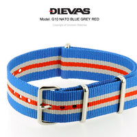 Blue Gray Red NATO G10 Military Nylon Strap