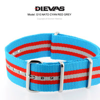 Cyan Red Gray NATO G10 Military Nylon Strap