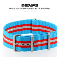 Cyan Red Gray NATO G10 Military Nylon Strap (Matte)