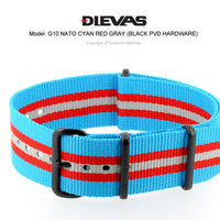 Cyan Red Gray NATO G10 Military Nylon Strap (PVD)
